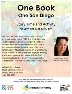 "Promotional graphic for the ""Jingle Dancer"" Story Time & Activity at Valley Center Library on November 6, 2013."