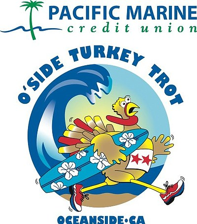 Promotional graphic for the Oceanside Turkey Trot taking place on November 28th, 2013.