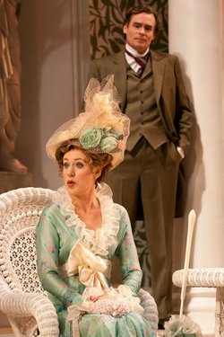 """Charlotte Parry as Eliza Doolittle and Robert Sean Leonard as Henry Higgins in The Old Globe's 100th Anniversary production of George Bernard Shaw's """"Pygmalion,"""" directed by Nicholas Martin, Jan. 12 - Feb. 17, 2013. Photo by Henry DiRocco."""