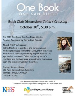 """Promotional graphic for the """"Caleb's Crossing"""" book club discussion at Borrego Springs Library on October 30, 2013 at 5:30 p.m."""