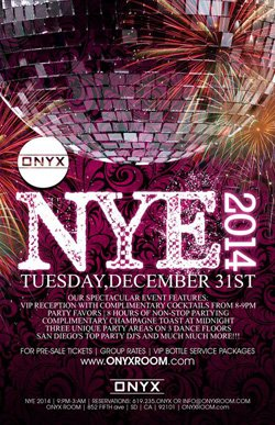 Promotional flyer for Onyx Room NYE 2014.