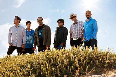 Graphic image of the Ozomatli band, performing at the Belly Up Tavern on January 24th.