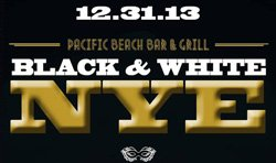 Promotional graphic for Pacific Beach Bar and Grill New Year's Black and White Party on December 31st at 9pm.