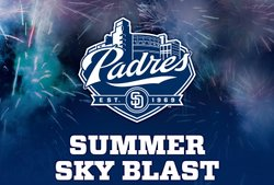 Promotional image for the Padres Summer Sky Blast.