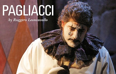 "Promotional image for the opera, ""Pagliacci"", which will be playing at the San Diego Civic Theatre."