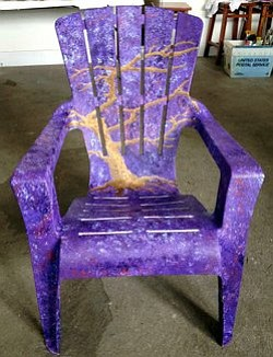 Image of a painted chair from the workshop at Bravo School of Art.
