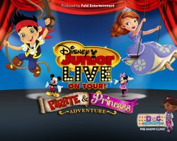 "Promotional graphic for the ""Disney Junior Live Tour: Pirate & Princess Adventure"" coming to San Diego on September 13th, 2013."