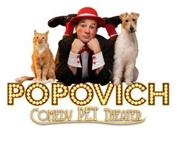 Promotional image of World Famous Popovich Comedy Pet Theater performing at the California Center for the Arts on October 11-12, 2013. Courtesy image of California Center for the Arts.