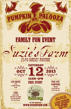 Promotional flyer for Pumpkin Palooza at Suzie's Farm on October 12, 2013. Courtesy photo of Suzie's Farm.