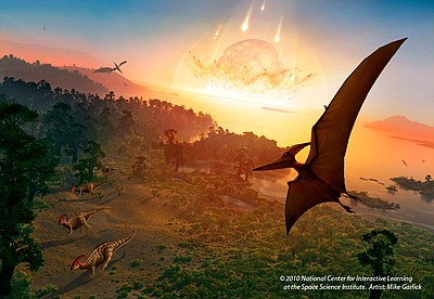 """Great Balls of Fire"" - Dinosaur extinction event mural. Courtesy of Reuben H. Fleet Science Center."
