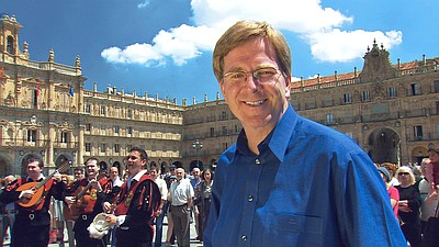 Rick Steves enjoys a Tuna Band in Salamanca, Spain. Courtesy of Rick Steves
