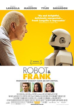 "Promotional movie poster for ""Robot & Frank"" playing at Central Public Library."