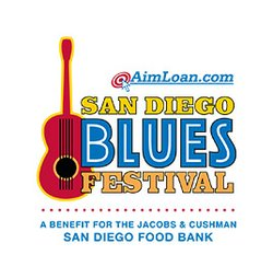 Promotional graphic for the San Diego Blues Festival on September 7, 2013. A Benefit for the Jacobs & Cushman San Diego Food Bank
