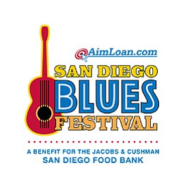 Promotional graphic for the San Diego Blues Festival on S...