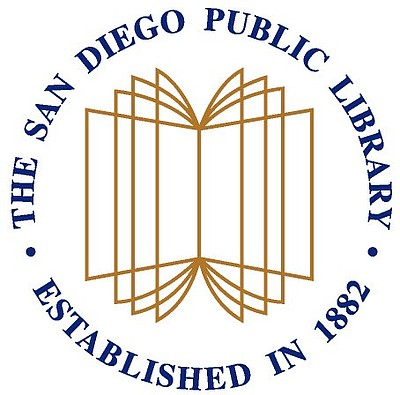 Graphic logo for San Diego Public Library - established in 1882.