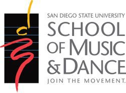 Graphic logo for San Diego State University's School of Music and Dance.