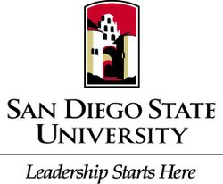 "Graphic logo for San Diego State University ""Leadership Starts Here"""