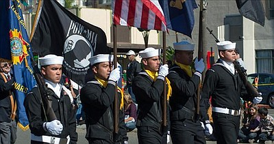 Image of the San Diego Veterans Day Parade from a previous year.