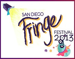 Graphic logo for the San Diego Fringe Festival, July 1-7,...