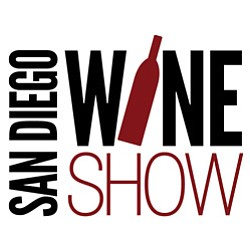 Graphic logo for the San Diego Wine Show at Del Mar Fairground Paddock.