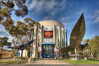 Exterior photo of the San Diego Air & Space Museum.