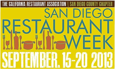 Promotional graphic for San Diego Restaurant Week taking place September 15-20th, 2013 in various locations in San Diego County.