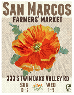 Promotional graphic for the San Marcos Farmer's Market at Cal State University.