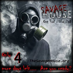 Promotional graphic for Savage House located in Grossmont Center from October 3- November 2, 2013.