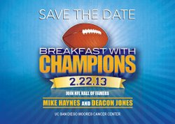 Promotional graphic for Breakfast With Champions Prostate Cancer Benefit on February 22, 2013.