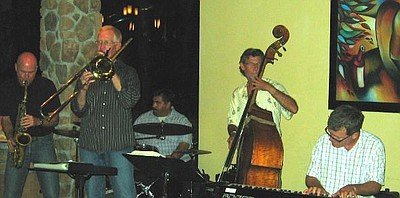 Image of The Scott Kyle Quartet, October 2008, with Mikey Holguin on drums, Gunnar Biggs on bass, John Opferkock on piano, and Bill Shreeve sitting in on alto.