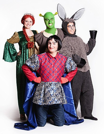 "Promotional photo of the cast of ""Shrek - The Musical,""  ..."