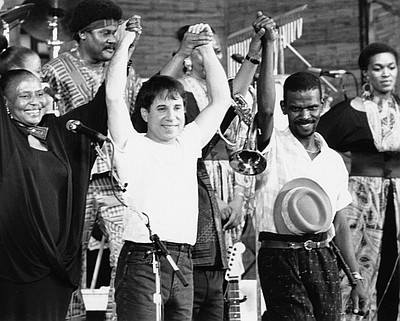 """Image of Paul Simon in """"Under African Skies"""". Courtesy of Lawrence Family JCC."""