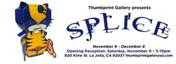 """Promotional graphic for """"Splice"""" on display at Thumbprint Gallery from November 9th - December 9th, 2013."""