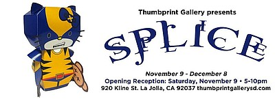 "Promotional graphic for ""Splice"" on display at Thumbprint Gallery from November 9th - December 9th, 2013."