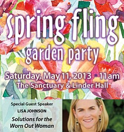 Promotional flyer for the Spring Fling Garden Party. Cour...