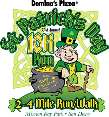 Promotional graphic for the St. Patrick's Day 10K Run, 2 & 4 Mile Run/Walk on March 16th, 2013.