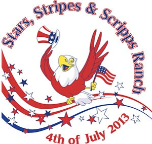 "Promotional graphic for the ""Stars, Stripes, And Scripps Ranch"" Parade & Festival taking place on July 4th, 2013."