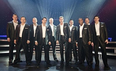 Promotional photo of Straight No Chaser performing live at Harrah's Resort in Atlantic City, New Jersey, with a journey through the decades of the pop songbook. Courtesy of Andrew Zaeh