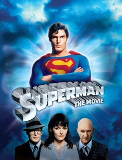"""Promotional movie poster for the 1978 film, """"Superman"""" playing at the Central Public Library."""