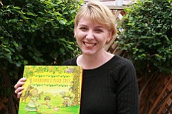 "Image of children's author, Suzanne Santillan and her book ""Grandma's Pear Tree."""