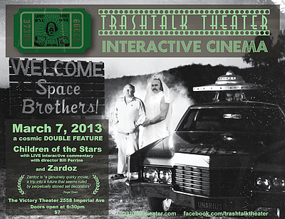 Promotional image for the TrashTalk Theater Sci-fi Double Feature at The Victory Theater on March 7th, 2013. Courtesy of Talk Trash Theater.