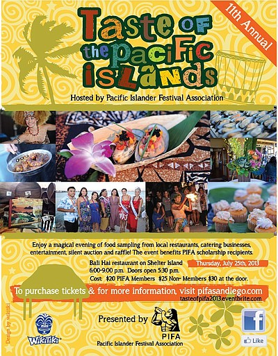 Promotional flyer for the 2013 11th Annual Taste of The Pacific Islands.