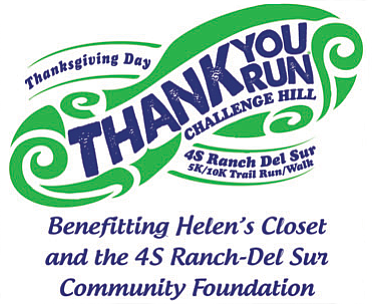 Promotional graphic for the Thank You Run taking place on Thanksgiving Day, November 28th, 2013 at 4S Ranch.