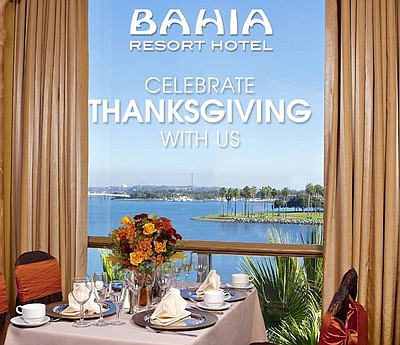 Promotional graphic for the Thanksgiving Champagne Dinner Buffet at Bahia Resort Hotel on November 28th, 2013.