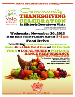 Promotional graphic for the Community Thanksgiving Celebration / Food Drive on November 20th, 2013.