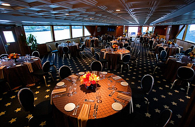 Promotional graphic for the Thanksgiving Luncheon Cruise hosted by Flagship Cruises & Events.