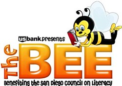 Graphic logo for the adult spelling bee, The Bee on February 21st. The Bee benefits the San Diego Council on Literacy.