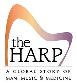 "Graphic logo for ""The Harp: A Global Story of Man, Music and Medicine"" exhibit at Museum of Making Music."