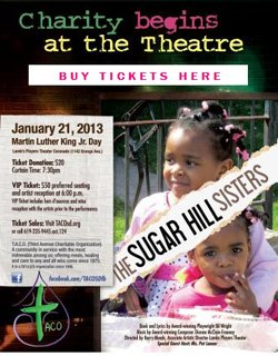 """Promotional flyer for """"The Sugar Hill Sisters"""" Musical benefitting T.A.C.O."""