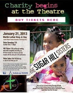 "Promotional flyer for ""The Sugar Hill Sisters"" Musical benefitting T.A.C.O."